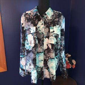 Apt 9 ls blouse floral print teal soft  XL